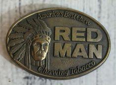 RED MAN Belt Buckle Original 1988 Vintage Brass Pinkerton Tobacco Co REDMAN #PinkertonTobaccoCo Man Belt, Brass Belt Buckles, Brass Color, Solid Brass, Belts, The Originals, Amazing, Board, Red
