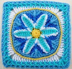 """Day 23: 12"""" Block of the Day - In Like a Lamb, Out Like a Lion 9""""-12"""" Afghan Block by Margaret MacInnis Free Pattern"""