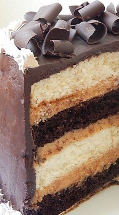 Heaven and Hell Cake (Devil's Food cake, Angel Cake, Peanut Butter Filling all topped with Chocolate Ganache)