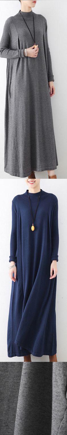 gray warm casual knit dresses oversize stylish turtle neck dress