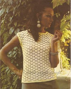 Lady's blouse crochet pattern. Instant PDF download!