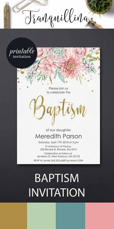 Succulent Baptism Invitation Baptism Party Invitation Girl christening invitation, Gold Pink floral invitation