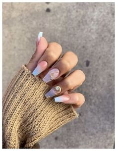 30 hot almond shaped nails colors to get you inspired to try 00075 Cute Nail Polish, Cute Nails, Pretty Nails, Grey Nail Designs, Gem Nails, Almond Shape Nails, Nail Time, Classy Nails, Birthday Nails