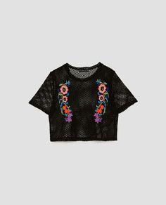 Imagen 8 de TOP RED BORDADOS de Zara Mesh Tops, Zara, Knitting, T Shirt, Collection, Women, Image, Fashion, Winter