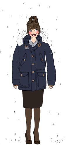 #fashion #mode #pluie #mentaux #froid #cold #style #femme #woman #illustration #laetitiamanela #lesillustrationsdelaetitia
