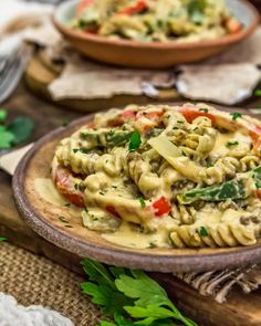 """Rich, velvety, and comforting, this one-pot Vegan """"Cheesesteak"""" Pasta Skillet is pure deliciousness and ready in 30 minutes. #wholefoodplantbased #vegan #oilfree #glutenfree #plantbased 