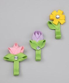 Spring Flower Hair Clippies set of three Pink by AccessoryStation