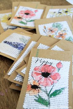 sketch and watercolor a flower (or whatever) on a book page, scan and adjust in computer, add text, print out and cut edge detail, glue to cardstock or to a small envelope or paper sack for a gift bag   -  via Alisa Burke