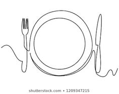 Continuous line art or One Line Drawing of plate, khife and fork. linear style and Hand drawn Vector illustrations Fork Drawing, Plate Drawing, Drawing Faces, Cake Logo Design, Food Logo Design, Fashion Design Portfolio, Continuous Line Drawing, Logo Restaurant, Gabel