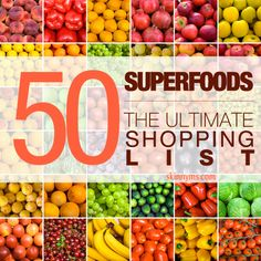 "The Ultimate Superfood Shopping List - Be sure to take this list to the grocery store. I make it a habit to add a new superfood to my shopping list each week. Another idea: replace one ""not so healthy"" food with a superfood each time you grocery shop. Baby steps turn into Giant Steps. #superfoods #cleaneating"