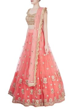 Call or whatsapp +91-7976011600 to Order Peach embroidered lehenga set, Heavily adorned with gota sequins, the peach blouse flaunts an open back and is paired with a matching tiered lehenga. The self colored embellished dupatta featuring a scallop border adds to the charm. Wear earrings and heels to enhance the look. Lehenga Choli, Saree, Ghaghra Choli, Ballroom Costumes, Indian Dresses, Kurti, Peach, Sequins, Blouse