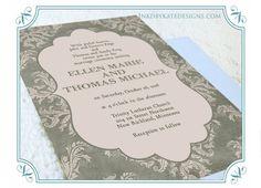 Vintage Damask Romantic Victorian Shabby Chic Wedding Invitation DEPOSIT. $50.00, via Etsy.
