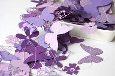 purple paper garland with flowers and butterflies birthday party wedding easter bridal shower baby shower. $15.00, via Etsy.