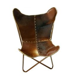 Butterfly chair - hair on leather