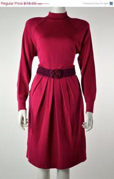 ETSY SALE Pleated WOOL Dress Magenta Dress // 80s by MyrtleBedford, $39.00
