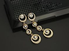 Brillant Women's Gold Tone Rhinestone Dangle Drop Circle Tassel Earrings New #Unbranded #DropDangle