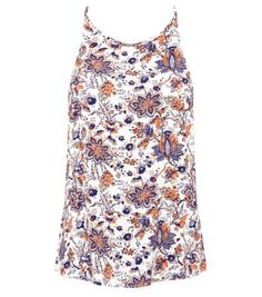 White Paisley Print High Neck Longline Cami