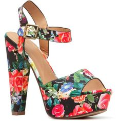 CiCiHot Black Floral Print Chunky Platform Heels (190 VEF) ❤ liked on Polyvore featuring shoes, pumps, chunky heel shoes, thick-heel pumps, floral pumps, black open toe pumps and black shoes