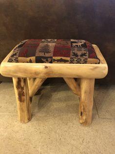 Aspen Log Bench With Upholstered Seat - Bear's Den Colorado Log End Tables, Log Coffee Table, Shutter Shelf, Lodge Furniture, Log Candle Holders, Expandable Table, Wildlife Decor, Wood Basket, Wood Dresser