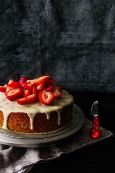Strawberry Almond Cake with Lemon Sour Cream Frosting Recipe by sugar et al