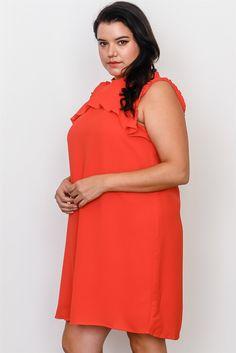 cdc0ead8cec Plus Size Ruffle Tie Back Dress