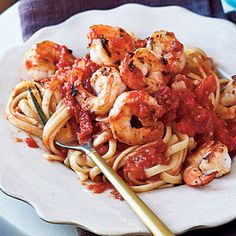 Fra Diavolo Shrimp Fra Diavolo - It's pasta, shrimp, and a spicy tomato sauce - what more could you ask for?Shrimp Fra Diavolo - It's pasta, shrimp, and a spicy tomato sauce - what more could you ask for? Best Pasta Recipes, Healthy Recipes On A Budget, Seafood Recipes, Dinner Recipes, Cheap Recipes, Easy Recipes, Linguine Recipes, Cajun Recipes, Delicious Recipes