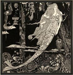 """https://flic.kr/p/HTawq8   """"The Little Sea Maid"""" (detail modified) 1916 by Harry Clarke   Harry Clarke (1889-1931)  Irish stained-glass artist and book illustrator.  """"Fairy tales by Hans Christian Andersen"""" (1916)  Illustrated by Harry Clarke   Original: library.tulane.edu/exhibits/files/original/cafba0915eee26..."""