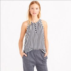 J. Crew Stripe Silk Tank Gently worn,  100% flowy silk. Clean, no stains. Shoulder to hem 26 inches in front , 29 inches in back. J. Crew Tops Blouses
