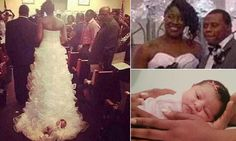 Bride under fire for fastening newborn into TRAIN of wedding dress - for real.