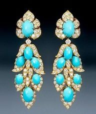 Epoque Fine Jewels, Van Cleef & Arpels - An extravagant pair of turquoise and diamond pendant earrings, Van Cleef Arpels, Van Cleef And Arpels Jewelry, Fine Jewelry, Women Jewelry, Jewellery, Jewelry 2014, Jewelry Stores, Fashion Jewelry, Pierre Turquoise