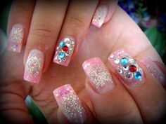 #Glitter #rhinestones & unconventional colored #nailtips is awesome! #frenchmani #frenchtips #springbreak #nails #freehand