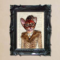 """Dictionary Print: -  """"Retro Kitty in Fur Coat"""" - upcycled book page, whimsical, cat lover, Funny Cat print on Etsy, $10.97 CAD"""