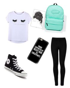 """""""School #1"""" by bigsiscorinne on Polyvore featuring Chicnova Fashion, Wolford, Vans, Converse and Casetify"""