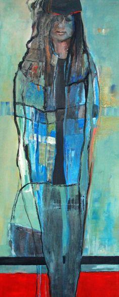 Girl in blue coat Vrij werk. Gelaagde olieverf op linnen doek met baklijst. Uit serie vrouwen/meisjes. Marga Klumper