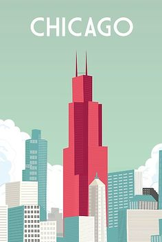 chicago skyline buildings Art Print by caravanstudiodesign - X-Small Chicago Poster, Poster City, Chicago Art, Chicago Travel, Chicago Skyline, Chicago Illinois, Building Illustration, Travel Illustration, Graphic Illustration