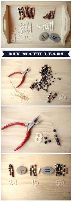 {DIY Montessori Beads and Math Exercises} These are SO expensive. What an awesome idea to make your own! *love