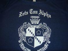 Zeta Tau Alpha Crest on a Navy Sweatshirt Zeta Tau Alpha, Custom Greek Apparel, Greek Clothing, Navy, Sweatshirts, Mens Tops, Greek Outfits, Hale Navy, Trainers