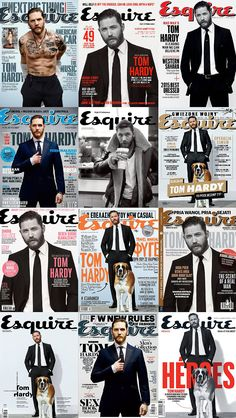 All those Esquire Tom Hardy covers and I only own 2 or Tom Hardy Legend, Tom Hardy Hot, Beautiful Boys, Beautiful People, Tom Hardy Variations, Top Hollywood Movies, Greg Williams, New James Bond, Handsome Actors