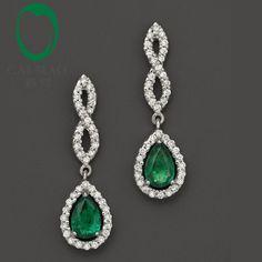 18k white gold 0.95ct 5x7mm pear cut emerald diamond engagment earrings caimao
