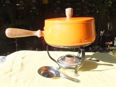 Cute Orange Mid Century Mod Fondu Set $12