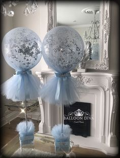 Close up of our navy and gold tulle balloons Idee Baby Shower, Boy Baby Shower Themes, Baby Shower Balloons, Baby Boy Shower, Baby Boy Balloons, Birthday Balloons, Tulle Balloons, White Balloons, Tulle Tutu