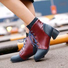 Марка патч Цвет Ботильоны копыт Каблуки Зашнуровать вскользь ботинки женщин школа стиль весна осень сапоги круглый носок…