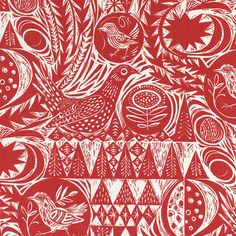 Love this etching style design and the colour. I've always Angie Lewin's style of art and although this isn't her design, its her studio.