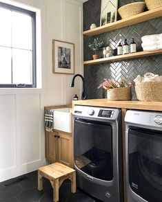 Mudroom Laundry Room, Laundry Room Remodel, Laundry Room Organization, Laundry Room Design, Laundry Room Countertop, Organized Laundry Rooms, Laundry Room Shelving, Laundry Room Colors, Laundry Room Layouts