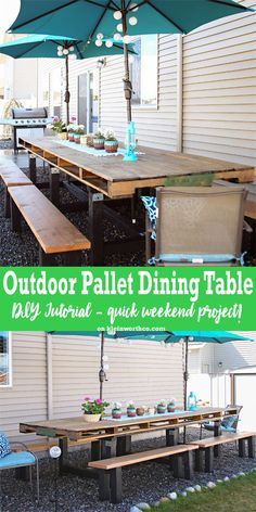 If you love pallet furniture, then you'll want to check out my DIY Pallet Outdoor Dining Table. This is a simple weekend project using an oversized pallet. via /KleinworthCo/ Pallet Table Outdoor, Pallet Dining Table, Outdoor Lounge, Outdoor Dining, Pallet Bench, Pallet Tables, Kitchen Tables, Outdoor Tables, Outdoor Decor