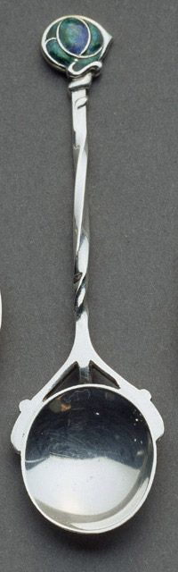 Sample Spoon, 1905-06        Archibald Knox (1864-1933)     Harry Silver (1881-1971, attributed)     Oliver Basker (1856-1939, attributed)     W. H. Haseler for Liberty and Company Silver, enamel, and chrysoprase 4 1/2 inches