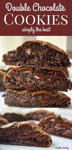 Rich double chocolate cookies that melt in your mouth. Soft chocolate cookies with melted chocolate chips are a chocolate lover's dream. Best ever chocolate cookies. Levain Bakery Dark Chocolate Chocolate Chip Copycat Cookies. www.modernhoney.com