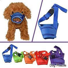 Dog Muzzle - YAMAY Nylon Mesh Adjustable Velcro Dog Muzzles for Barking, Biting and Chewing, S , Blue