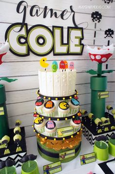 I am so excited to share today's Friday Feature with you. Amy of Amy's Party Ideas and the shop Lulu Cole styled this amazing video game party! Amy is an incredible party stylistic and shares lots of great ideas on her blog. I have been following her for a long time. My son Luke has been dying to have a video game truck party and
