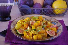 Calabaza especiada con berenjena y miel. Receta de cocina fácil, sencilla y deliciosa Fruit Salad, Sweet Potato, Salads, Potatoes, Vegetables, Cooking, Healthy, Ethnic Recipes, Food